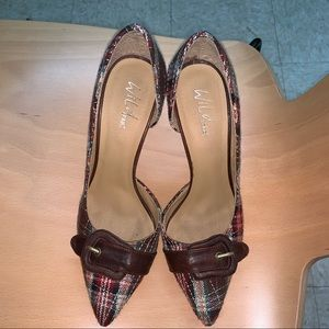 Plaid heels with brown buckle